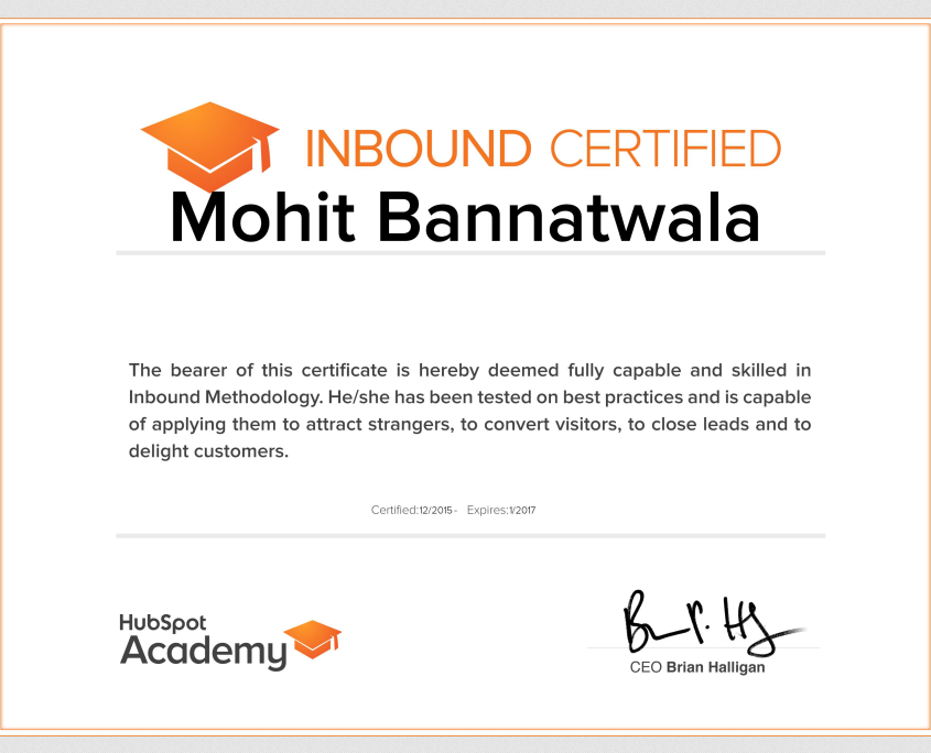 Hubsot Inbound Certification